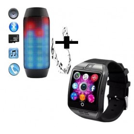 Pack haut parleur pulse bluetooth a LED + montre connectee