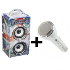 Pack dance cube UK+ Microphone Karaoke silver