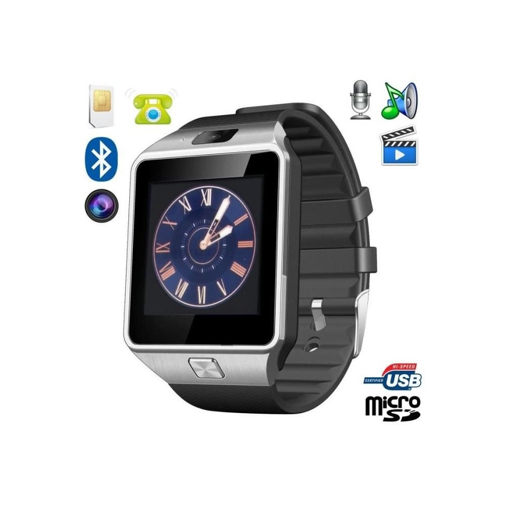 montre t l phone connect e compatible android ios sport carte sim homme noir dealstore fr. Black Bedroom Furniture Sets. Home Design Ideas