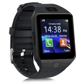 Bluetooth montre Smart Watch Phone DZ09 support de la carte SIM de TF Caméra HD Sync appel SMS pour Android Phone -Noir