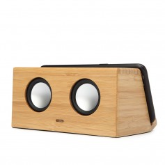 Enceinte bluetooth en bois avec support a induction