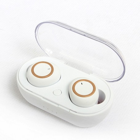 ÉCOUTEURS INTRA AURICULAIRE BLUETOOTH BLANC/OR