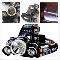 Lampe frontale SMD Led cree 3 faisceaux ultra puissante rechargeable 12V